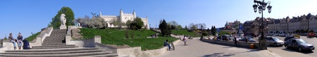 The panorama of the fragment of the Old Town of Lublin. At the top of the hill - he castle, being home to the Regional Museum Stock Photo - 12074150