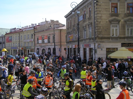 Participants of the cycling event European Cycling Picnic, Lublin, Poland, May 8th 2011