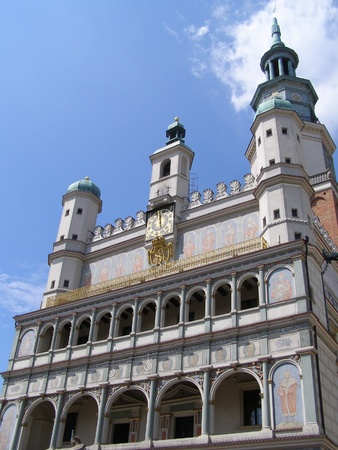 The renaissance cityhall in the old town of Poznan, Poznan, Poland