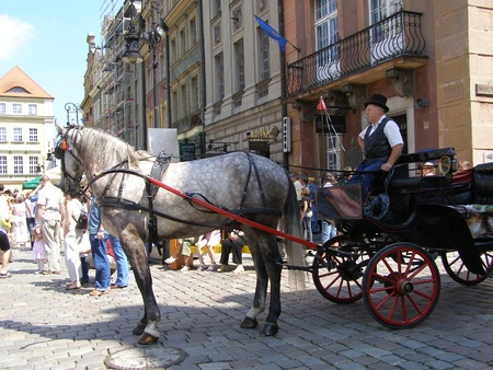 wielkopolskie: A light carriage waiting to take tourists on the tour around the old town of Poznan, Poznan, Poland