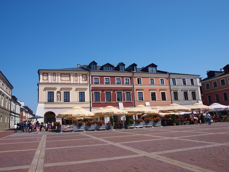 Restaurants and cafes around the Great Market Square in the old town of Zamosc, Poland, July 10th 2011.