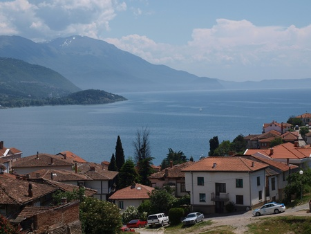 Panoramic view of the old town of Ohrid and Lake Ohrid, Macedonia