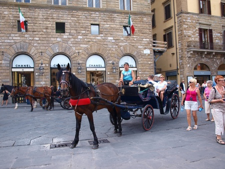 A light carriage waiting to take tourists on the tour around Florence, Italy Stock Photo - 12143183