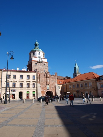 lublin: The Krakowska Gate in the historic old town of Lublin, Poland
