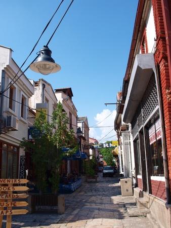 A street in the old town in Skopje, Macedonia