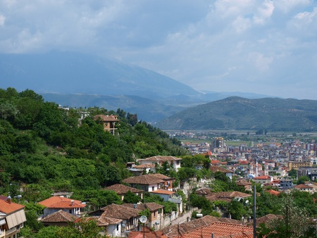 nicknamed: The panoramic picture of the city of Berat in Albania, nicknamed the city of one thousand windows.