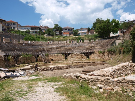 Reconstruction works at the ancient amphitheater in the Macedonian city of Ohrid