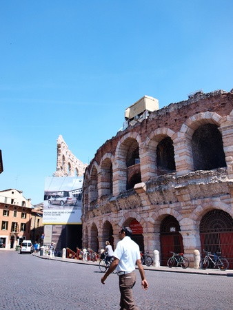 Piazza Bra in Verona, Italy with the ancient arena
