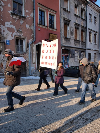 Young Poles marching against Polish government signing the ACTA (Anti-Counterfeiting Trade Agreement), Lublin, Poland, 11th February 2012.
