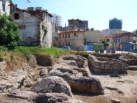 Ruins of an ancient bath house in Durres, Albania