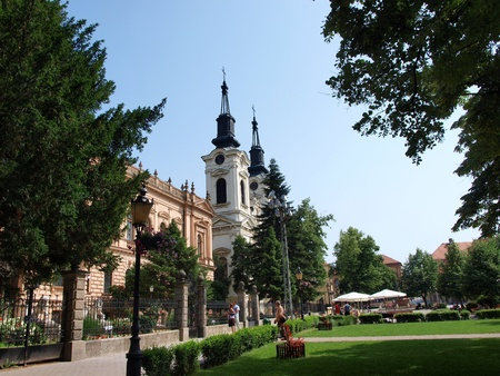 The main square of the Serbian town Sremski Karlovci with the Orthodox church of St. Nicholas.