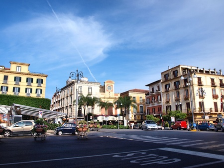 central square: The central square of Sorrento, Piazza Tasso, Italy Editorial