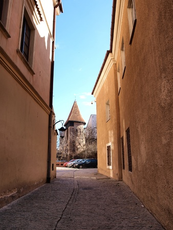 A narrow alley in the old town of Lublin, Poland