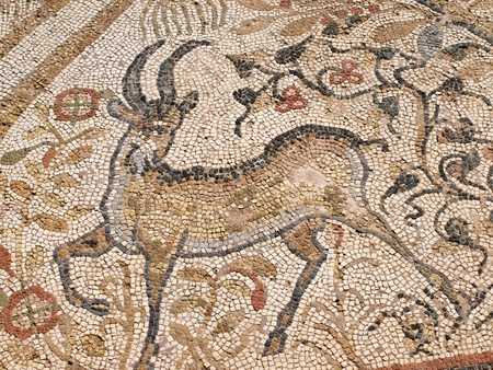 A Byzantine mosaic depicting a deer on the floor of the Great Basilica in the ancient city of Heraclea Lyncestis near Bitola, Macedonia