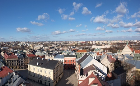 tribunal: The Market Square with the central Crown Tribunal in the Old Town of Lublin seen from the top of the Trynitarska Tower, Lublin, Poland