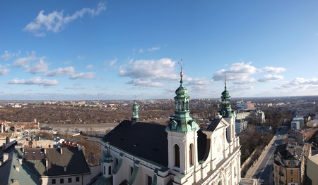 The Cathedral of Saint John The Baptist and The Evangelist, Lublin, Poland seen from the top of the Trynitarska Tower