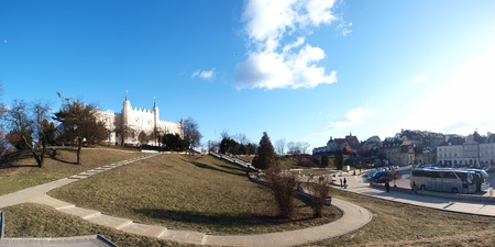 The panorama of the fragment of the Old Town of Lublin. At the top of the hill - he castle, being home to the Regional Museum.
