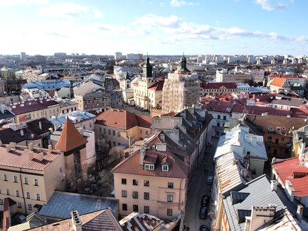 Panoramic view of the old town of Lublin seen from the top of the Trynitarska Tower, Lublin, Poland