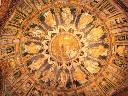 jesus standing: Ceiling mosaic - John the Baptist baptizing Jesus (depicted with beard) standing waist high in the Jordan River. Neonian Baptistery, Ravenna, Italy