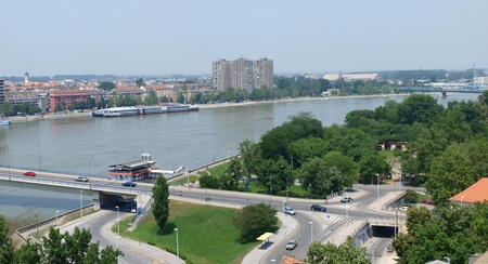 The view from Petrovaradin of Novi Sad, Serbia