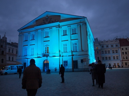 tribunal: Crown tribunal at night, Lublin, Poland Editorial