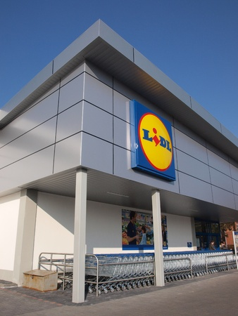 grocery trade: A discount supermarket chain store Lidl, Lublin, Poland