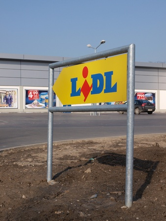 lublin: A discount supermarket chain store Lidl sign, Lublin, Poland