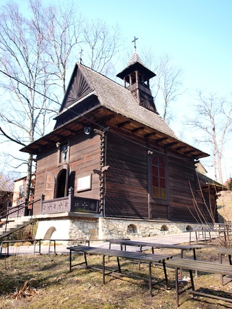 st charles: Zakopane-style wooden church of St. Charles Borromeo, Naleczow, Poland