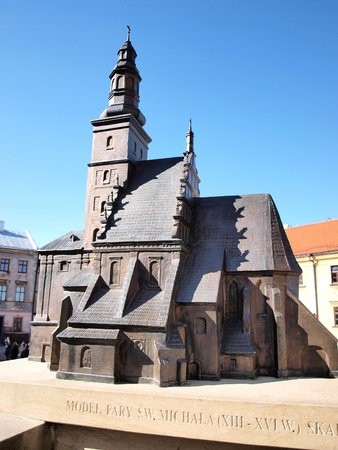 lubelszczyzna: he model of a non-existing parish church of St. Michael The archangel in the historic old town of Lublin, Poland