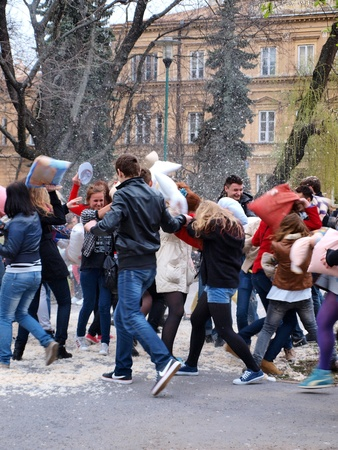 International Pillow Fight Day, Lublin, Poland, April 14th 2012 Stock Photo - 13160736