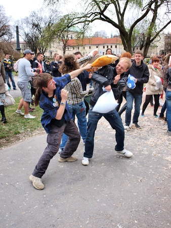 commotion: International Pillow Fight Day, Lublin, Poland, April 14th 2012