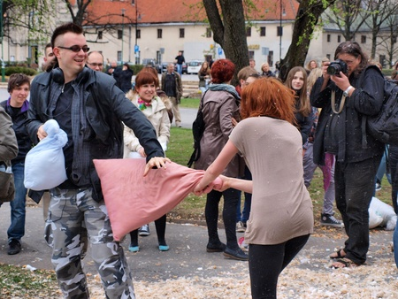 International Pillow Fight Day, Lublin, Poland, April 14th 2012 Stock Photo - 13160733