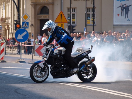 freeride: Motorcycle stunt riding at the blood donation event Motoserce, Lublin, Poland, April 22th 2012. Editorial