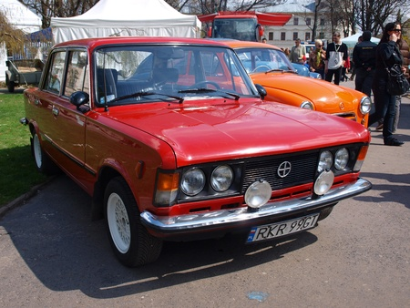 Legendary car Fiat 125p at the blood donation event Motoserce, Lublin, Poland, April 22th 2012