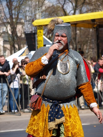 lubelszczyzna: Knight during a historical reenactment from the middle ages, Lublin, Poland, April 21st, 2012. Editorial