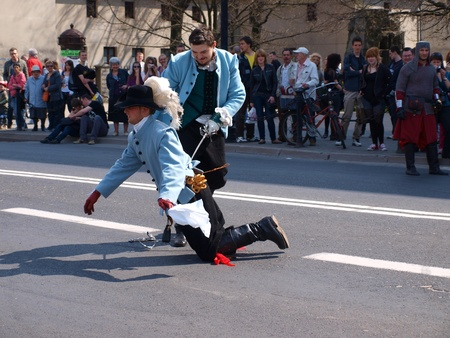 Fencers at the historical reenactment from the 18th century, Lublin, Poland, April 21st 2012.