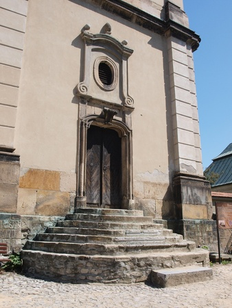 The entrqance to the bell tower of the cathedral in Sandomierz, Poland Stock Photo - 13403257