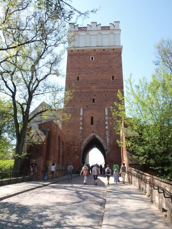 The famous Opatowska Gate, the entrance to the Old Town, Sandomierz, Poland, May 1st 2012. Stock Photo - 13436734