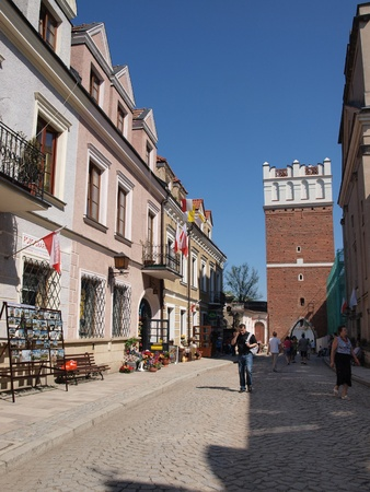 Opatowska Street with the Opatowska Gate, Sandomierz, Poland, May 1st 2012.