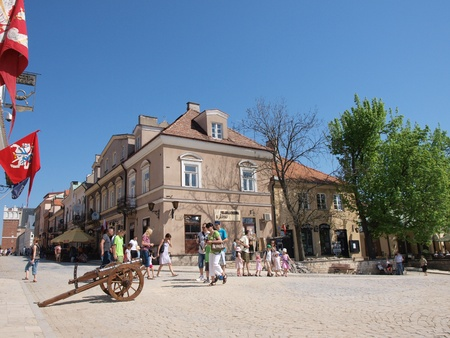 The main square in the old town of Sandomierz, Poland, May 1st 2012.