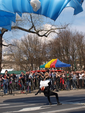 lubelszczyzna: Parachute jumps during the blood donation event, Lublin, Poland, April 21st 2012.