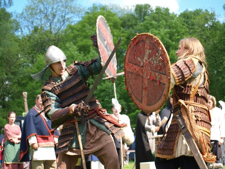 Fighting kights in the historical reenactment event, Zawieprzyce, Poland, May 6th 2012 Stock Photo - 13575883