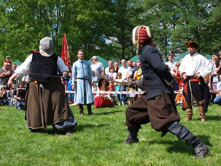 sabre's: Medieval fencing at the historical reenactment event, Zawieprzyce, Poland, May 6th 2012