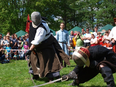 reconstructing: Medieval fencing at the historical reenactment event, Zawieprzyce, Poland, May 6th 2012