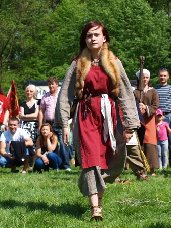 reconstructing: Slavic dances at the historical reenactment event, Zawieprzyce, Poland, May 6th 2012