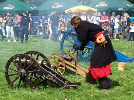 reconstructing: Firing a cannon at the historical reenactment event, Zawieprzyce, Poland, May 6th 2012