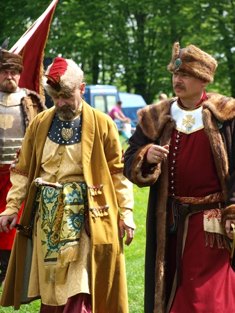 reconstructing: Outfits of typical XVII- century Polish noblemen as shown during the historical reenactmnent event, Zawieprzyce, Poland, May 6th 2012.