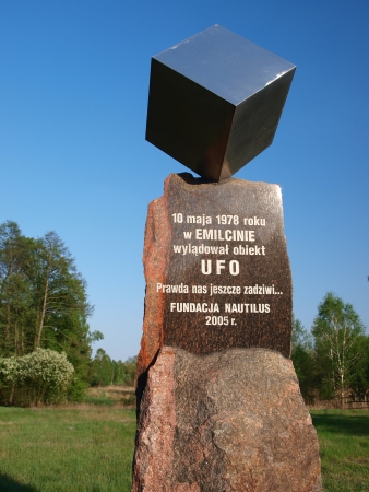 lubelskie: Monument to UFO, Emilcin, Poland, to commemorate the event of UFO landing and examining Jan Wolski in Emilcin on May 10th 1978.78. Editorial