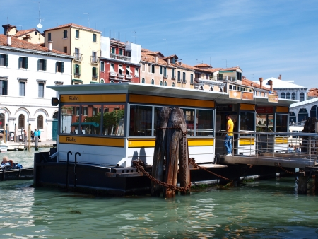 Vaporetto (water bus) stop in Venice, Italy