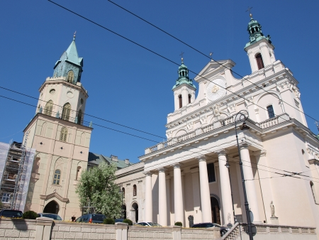 lublin: The cathedral and the Trynitarska tower, Lublin, Poland Stock Photo